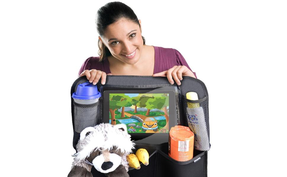 premium r ckenlehnenschutz 2 st ck gro e taschen und ipad tablet fach auto r cksitz. Black Bedroom Furniture Sets. Home Design Ideas