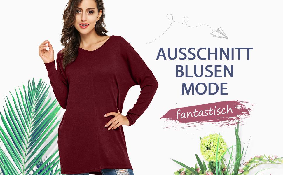 Sexy und Casual, Langarm V Ausschnitt Blusen Jumper oversized Größe.  Graziös Lose Hemd-Kleid, lange Oberteil. 9b06ddc18a