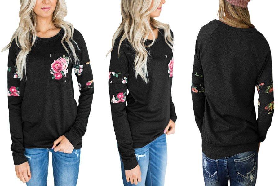 cef9672f026f96 StyleDome Damen Floral Patch Shirt Lange Ärmel Locker Tops Casual Bluse Stretch  Oversize Oberteil Junpers