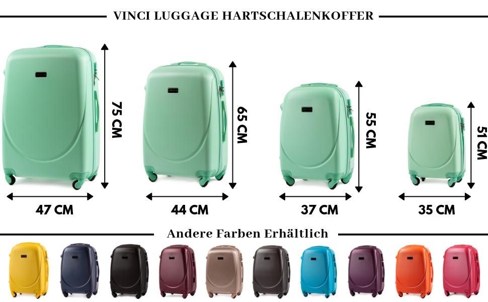 Con/çue pour Une Client/èle Exigeante Bleu Argent/é, S 55X38X23 VINCI LUGGAGE Valise De Cabine Spacieuse et Luxueuse