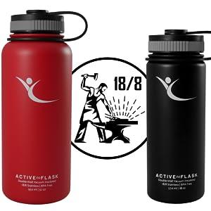 Trinkflasche ACTIVE FLASK Isolierflasche + 3