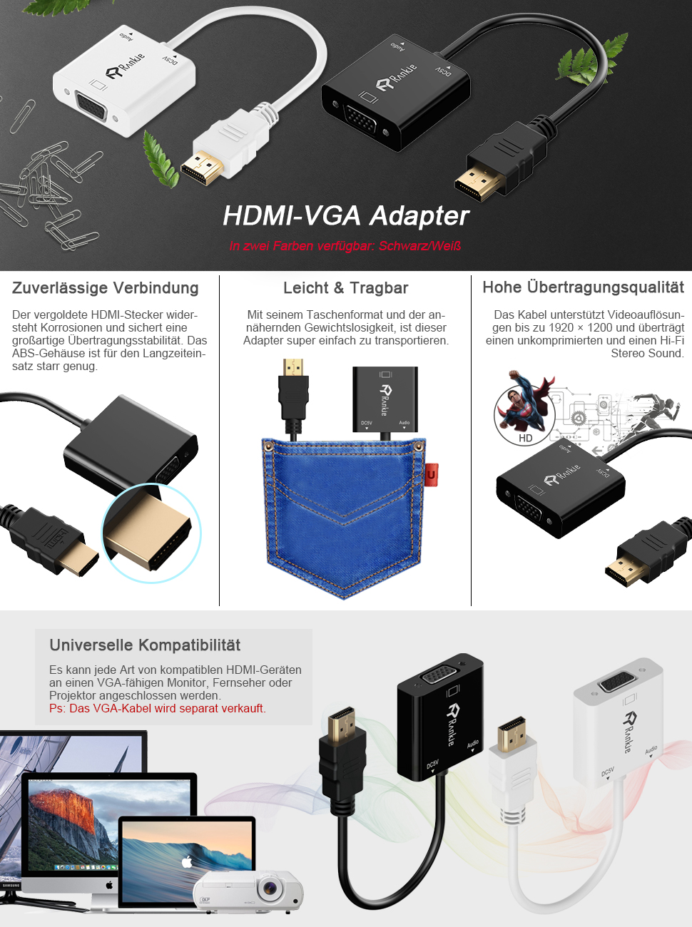 Rankie HDMI auf VGA Adapter, Vergoldet 1080P HDTV: Amazon.de: Elektronik