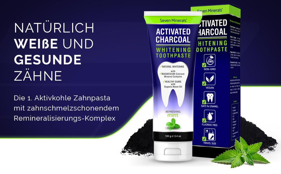 Seven Minerals, Aktivkohle Zahnpasta, Zahncreme, fluoridfrei, vegan, SLS frei, Bleaching, Aufhellung