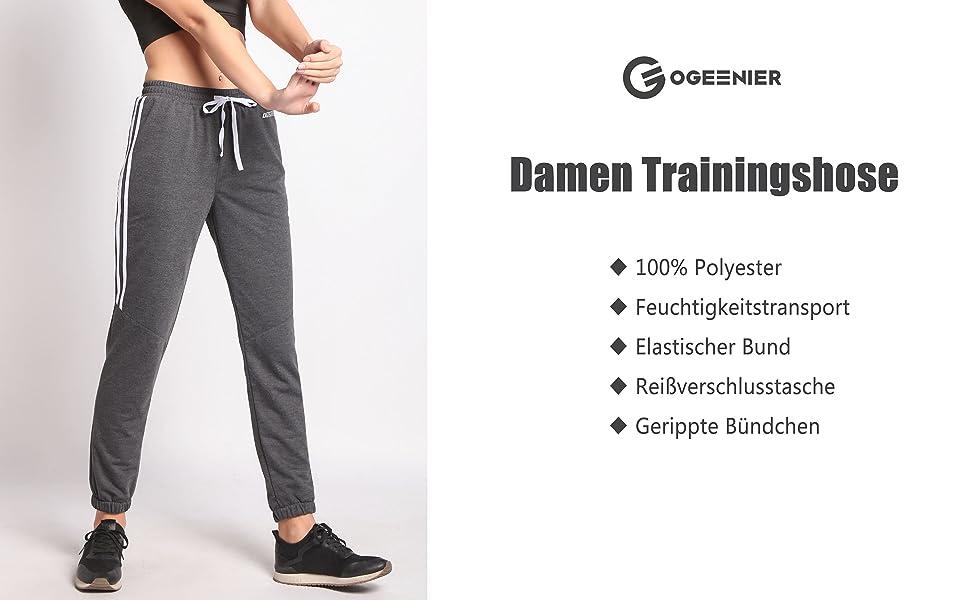 Ogeenier Damen Jogginghose mit Tasche f/ür Sport Fitness Gym Laufen Training Fu/ßball Trainingshose Sweatpants Sporthose Jogger Pants