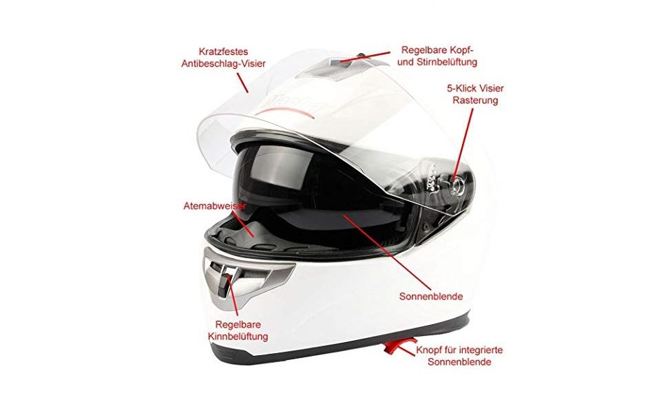 Mach1 Integralhelm Helm Motorradhel Mit Integrierter Sonnenblende Ece R 22 05 Größe Xs Bis Xxl Sport Freizeit