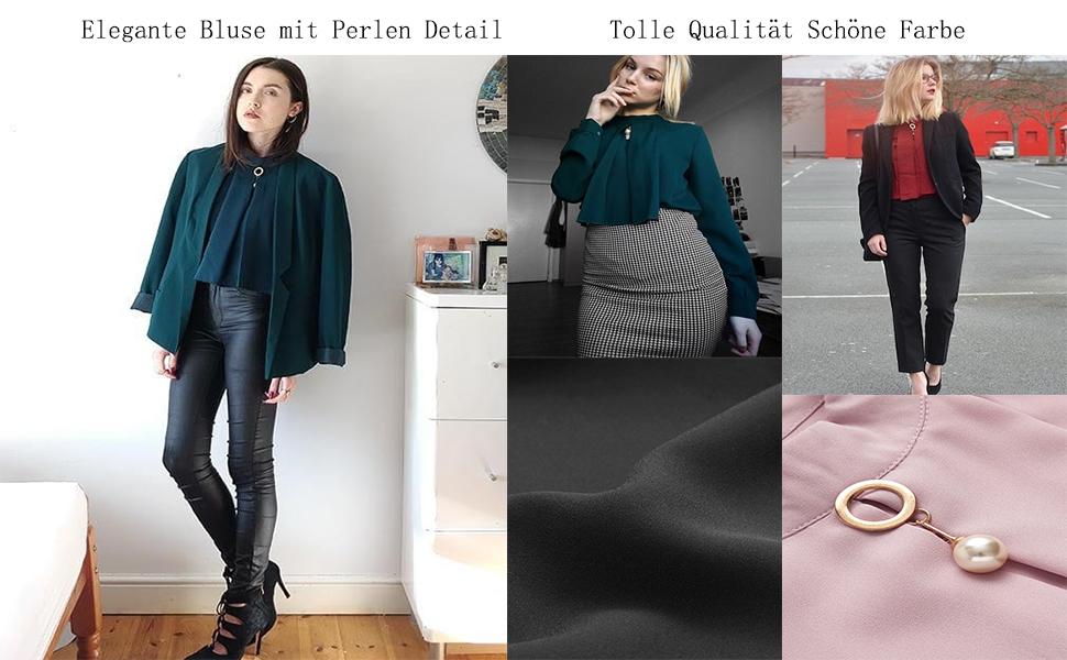 DIDK Damen Elegant Chiffonbluse Stehkragen Einfarbig Langarm Tunika Blusen  Business Oberteile 82beeb051b