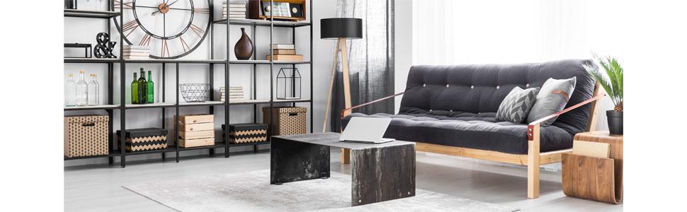 calutea moderner obstkorb metall schwarz holz design braun 26 5x25xh12 cm k che. Black Bedroom Furniture Sets. Home Design Ideas