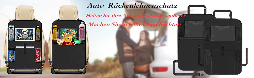 Doppelpack Auto Rückenlehnenschutz Organizer Lehne Sitzschoner Transparent