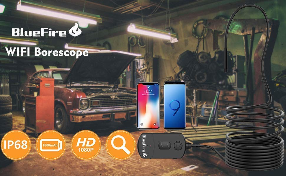 Bluefire Aufgerüstet Wifi Endoskop 1080p 8 2mm 1800mah 2mp Zoombare Halbsteife Kabel Wasserdichte Endoskopkamera Inspektionskamera Rohrkamera Boreskope Für Ios Android Smartphone Tablette 15m Elektronik