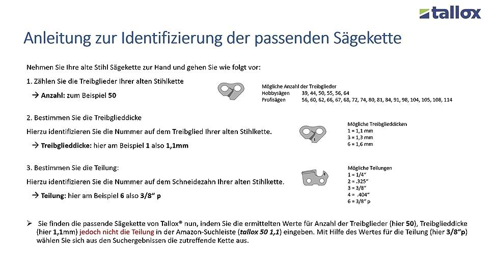 """Sägekette für Stihl Halbmeißel 3//8/"""" 1,3 mm 55 Treibglieder"""