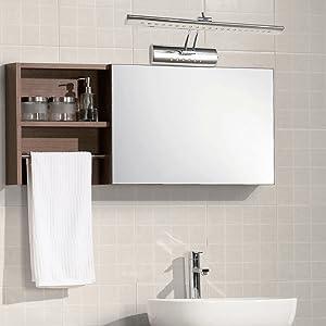 hengda 7w led warmwei spiegellampe 180 einstellbar edelstahl badleuchte mit schalter. Black Bedroom Furniture Sets. Home Design Ideas
