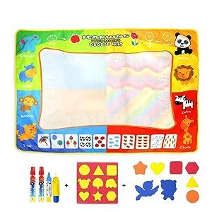 Jenilily Magic Doodle Malmatte Wasserziehmatte 120x90CM Wasser Malmatte Kids Baby Toddler Wasser Zeichnen Matte Toy Wattre Magie Stift Spielzeug Junge Mädchen Alter 2 3 4 5 6 Jahre alt