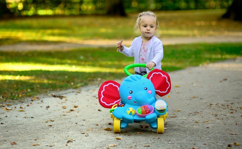 JUNIORIA Elefant Lauflernwagen Lauflernhilfe Motorikspielzeug Lernspielzeug Schiebewagen mit Musik und Lichtern ab 6 Monaten