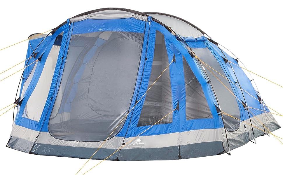 Gruppenzelt CampFeuer Campingzelt f/ür 5 Personen Gro/ßes Familienzelt mit 3 Eing/ängen und 3.000 mm Wassers/äule blau//grau Tunnelzelt fest vern/ähter Boden