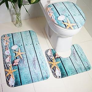 JUEYAN Badematten Set 3 Teilig Badvorleger WC Vorleger ohne Ausschnitt rutschfest f/ür H/änge-WC Badezimmer Waschbar Dusch Matte Teppich