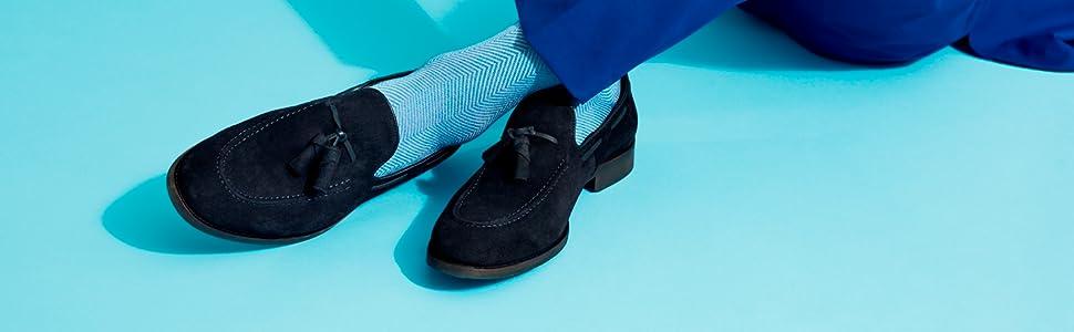 Calcetines de trabajo para hombre, de color azul, de alta calidad GQ