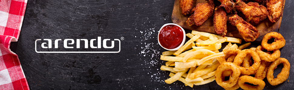 Pommes Arendo Marke chickenwings curls ketchup