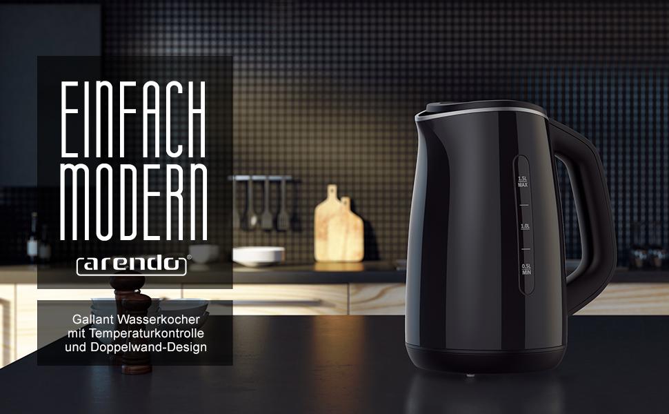 Arendo Gallant Wasserkocher BPA-frei Design Schwarz Küche