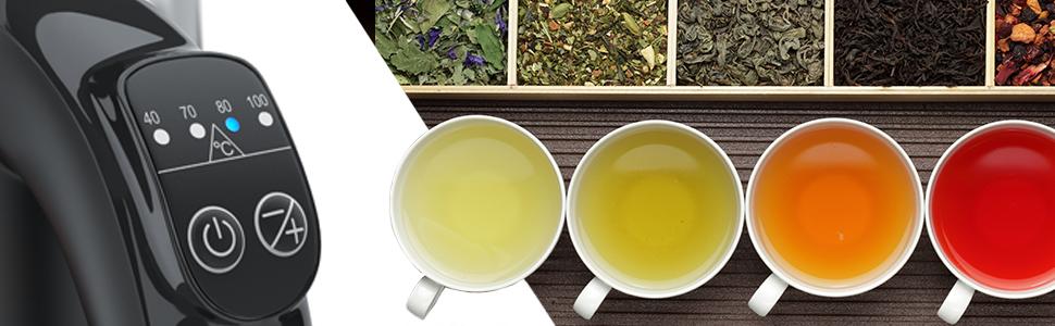 Tee Temperaturauswahl Wasserkocher Kochen Erhitzen Kontrolle