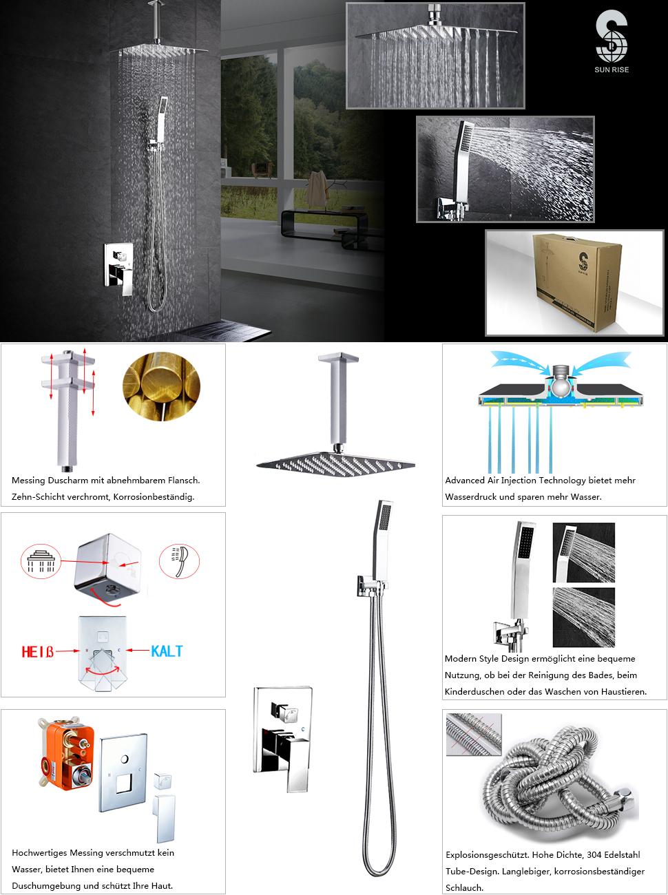 S R SUNRISE Badezimmer Luxus Regenmischer Dusche Combo Set Decke ...