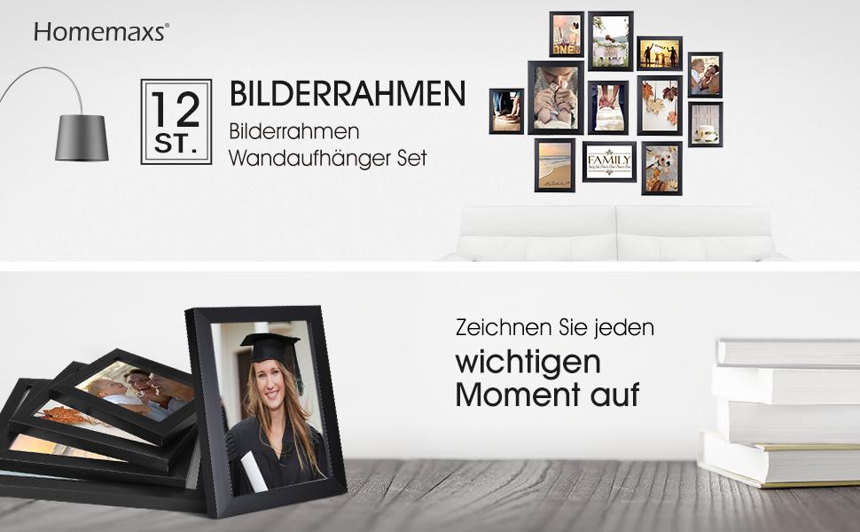 Homemaxs Bilderrahmen 12er Collage Bilderrahmen Wandbefestigung ...
