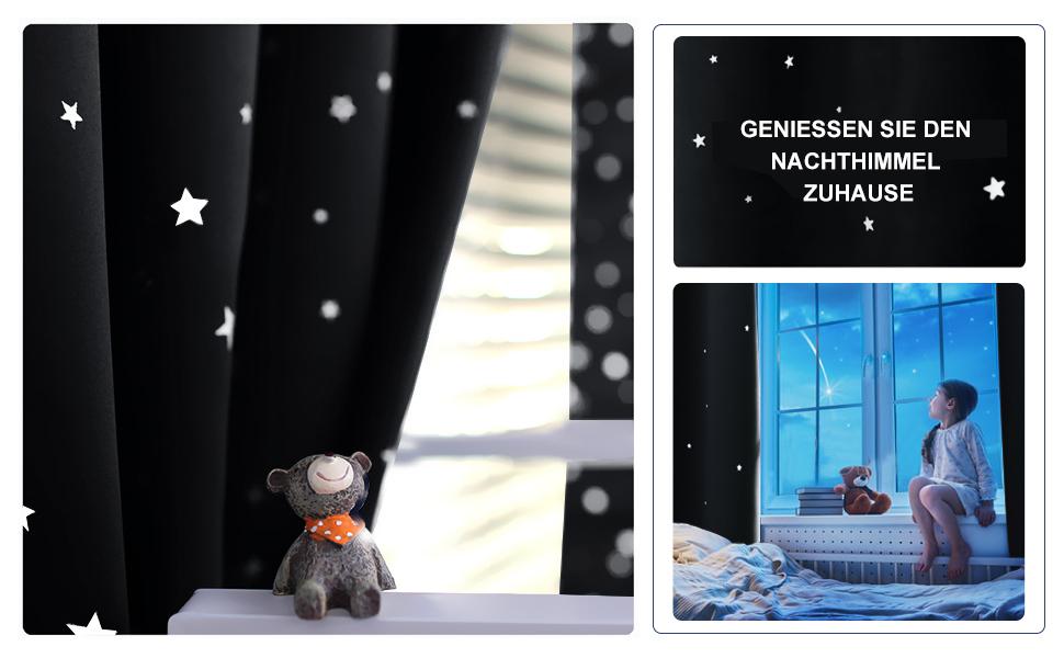 ponydance baby kinderzimmer vorhang sterne vorh nge 2 st cke 240 x 132 cm h x b blickdicht. Black Bedroom Furniture Sets. Home Design Ideas