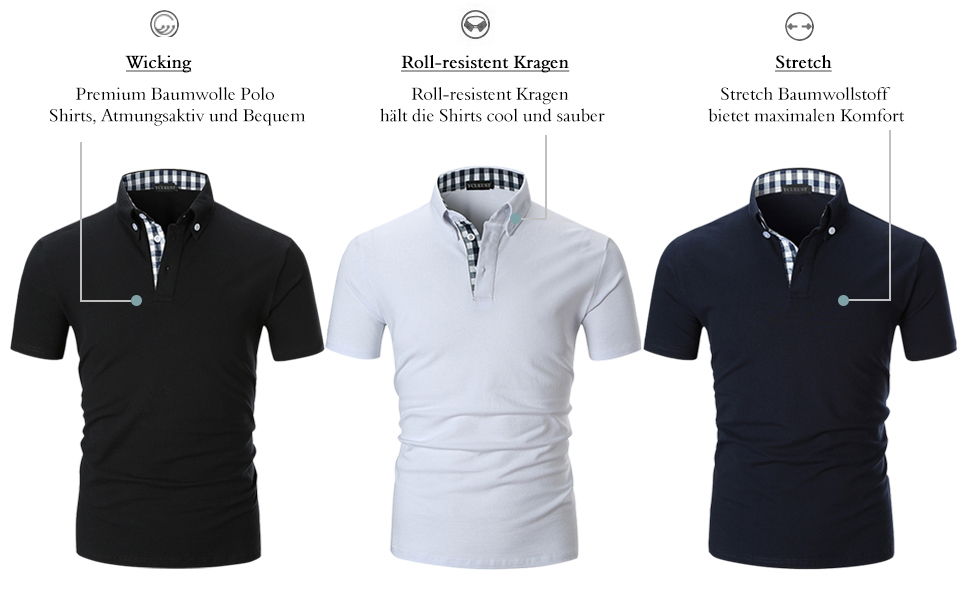 3836ba228a1277 YCUEUST Herren Kurzarm Poloshirt Polohemd Polo Shirts mit Kariert ...