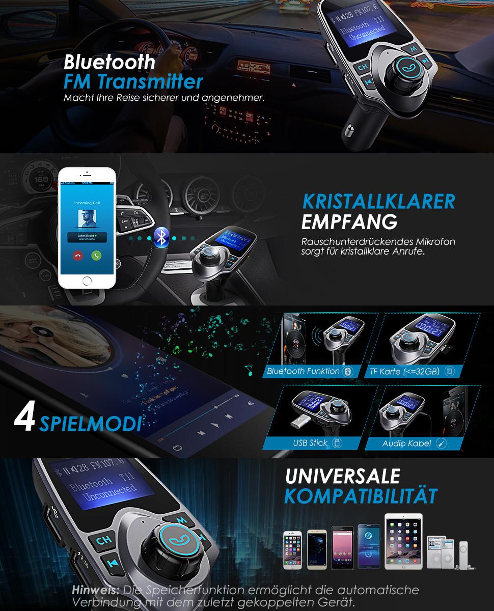 omorc bluetooth fm transmitter radio adapter f r amazon. Black Bedroom Furniture Sets. Home Design Ideas