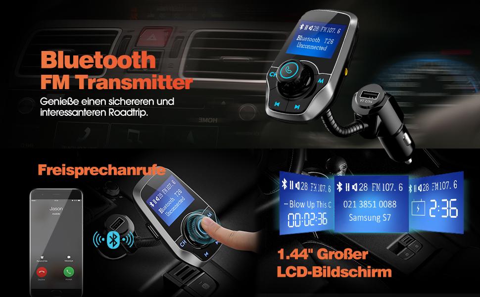 bluetooth fm transmitter omorc kfz auto radio adapter. Black Bedroom Furniture Sets. Home Design Ideas