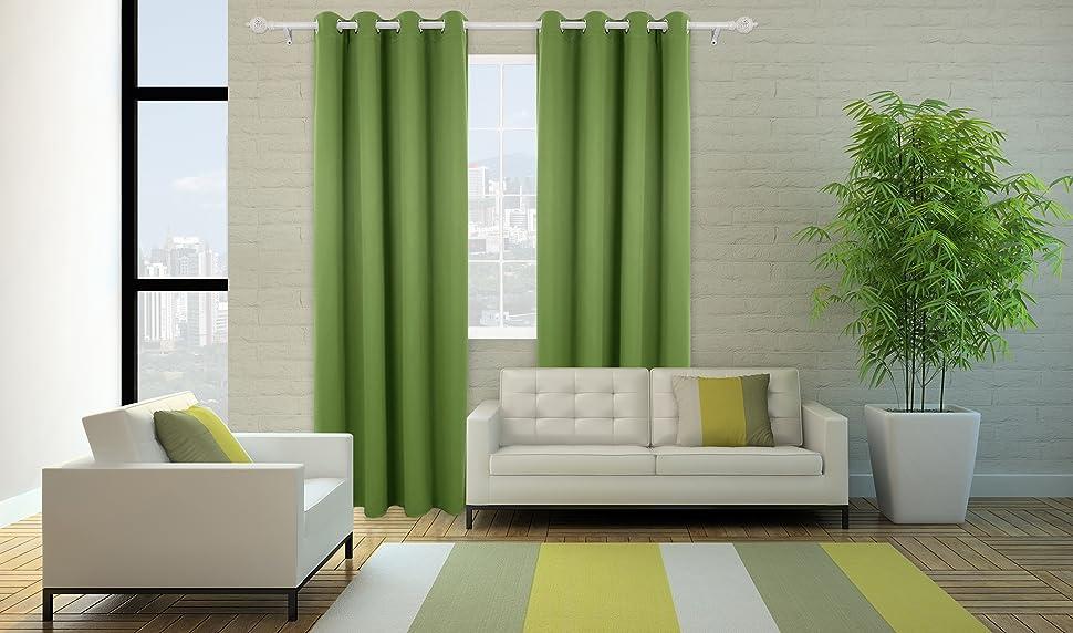 deconovo vorhang blickdicht sen vorhang kinderzimmer thermogardine sen 175x140 cm apfelgr n. Black Bedroom Furniture Sets. Home Design Ideas