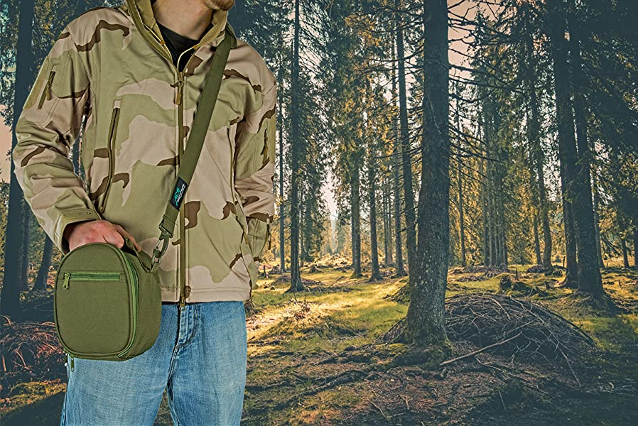 ACE Tasche für Gehörschützer Gepolstert Kopfhörer Etui passend für MSA Sordin Supreme, Impact Sport, Impact PRO, Sportac, Howard Leight Sync, Farbe: