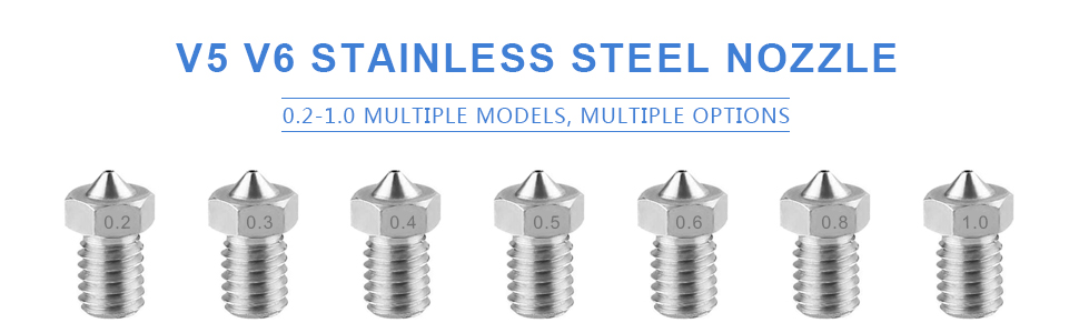 0,5 mm x 2 Edelstahl-Extruderdüsen-Druckköpfe HAWKUNG 0,4 mm x 8 0,3 mm x 2