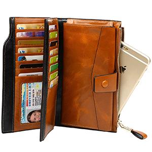 72e467e3316eb PARVENZA Damen Geldbörse RFID Schutz Portemonnaie Wachs Echtes Leder ...