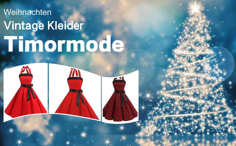 Timormode Damen 1950er Vintage Abendkleid Elegant Neckholder Retro ...