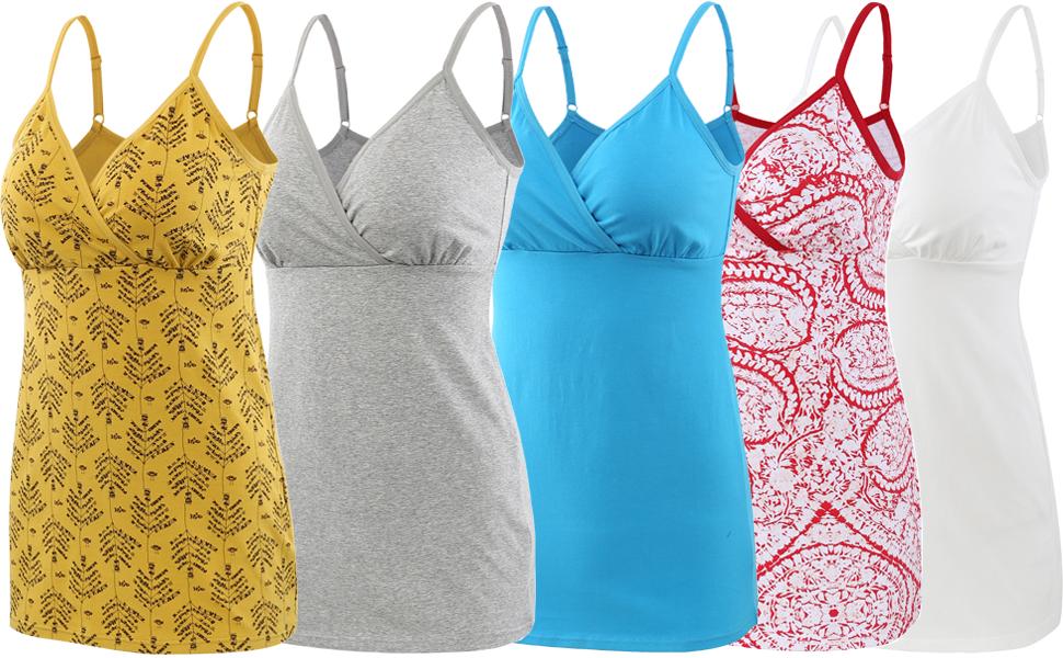 ZUMIY Schwangerschaft Stillen Top Damen Baumwolle Umstandskleidung Schlaf /Ärmellos Cami mit Verstellbaren Tr/ägern