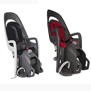 svart och röd cykelbarnstol
