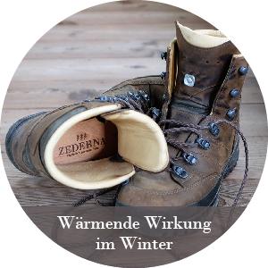 Warme Füße im Winter mit Zederna, Sohlen in STiefel