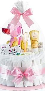 Timfanie/® Windeltorte Ziehente mit Gravur Windeln Gr 2-st/öckig 3 baby-blau