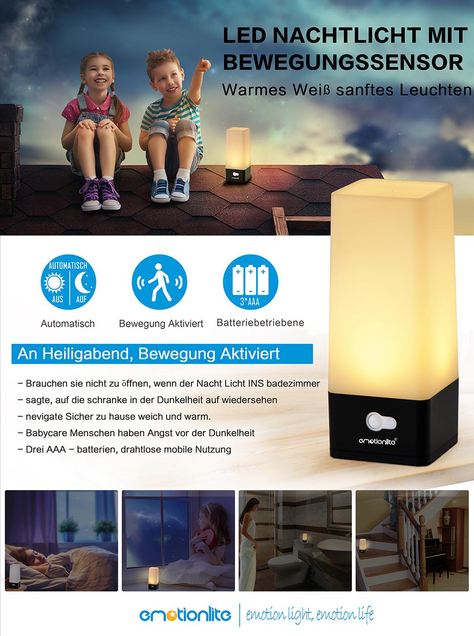emotionlite led nachtlicht mit bewegungssensor und d mmerungssensor batterie enthalten. Black Bedroom Furniture Sets. Home Design Ideas