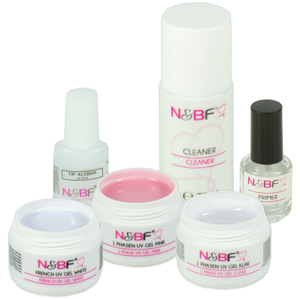 Tip-Kleber, Nagel Cleaner, 1-Phasen Gel Pink, 1-Phasen Gel Klar, Primer, French UV Gel