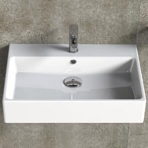 Aqua Bagno | Waschbecken | modernes Design | weißer Waschtisch aus Keramik  | hochwertiger Möbelwaschtisch für das Badezimmer, 600x500x140 mm