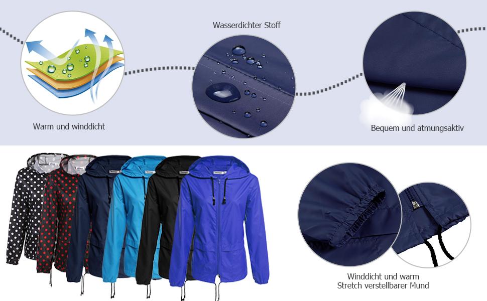 Beyove Damen Regenjacke Windjacke Funktionsjacke Wasserdicht Atmungsaktive Outdoorjacke Kapuzenjacke Regenzeit