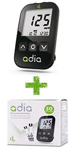adia Blutzuckermessgeräte-Set plus 60 Blutzuckerteststreifen