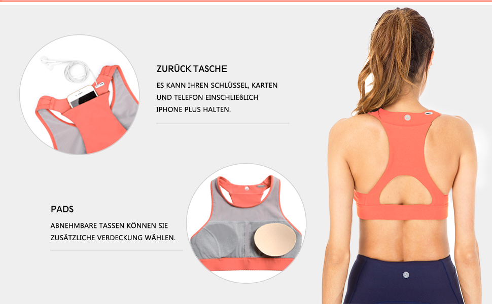 QUEENIEKE Damen Medium Support Riemchen Zur/ück Energy Sport BH Baumwolle Gef/ühl