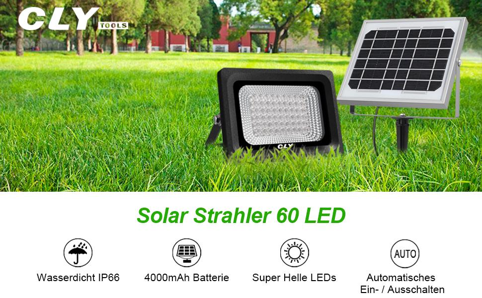 Solar Strahler CLY 60 LED Solarstrahler Garten Solarleuchte ...