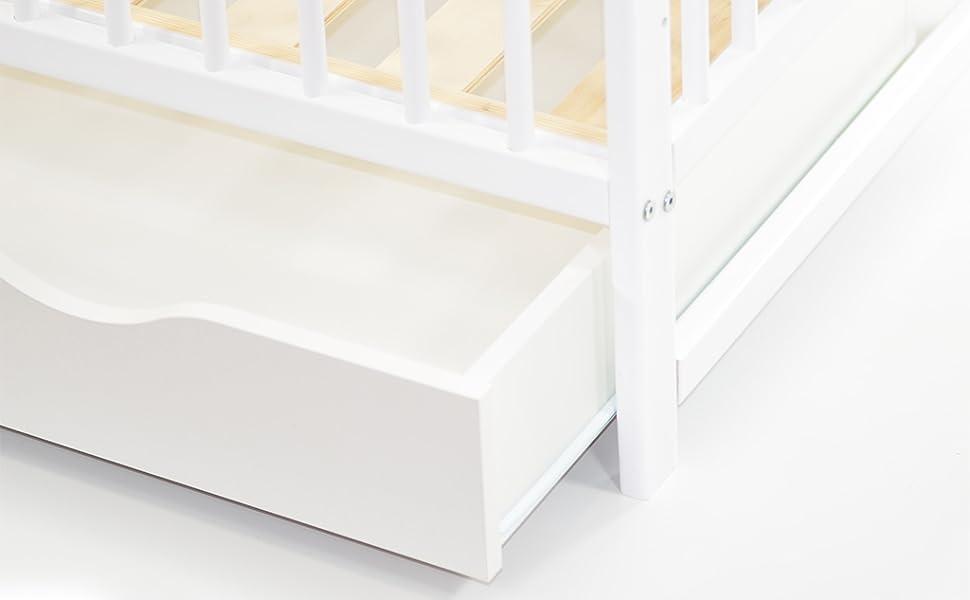 Babybett Kinderbett 120x60 Holz Gitterbett Kieferholz WEISS ekmTRADE