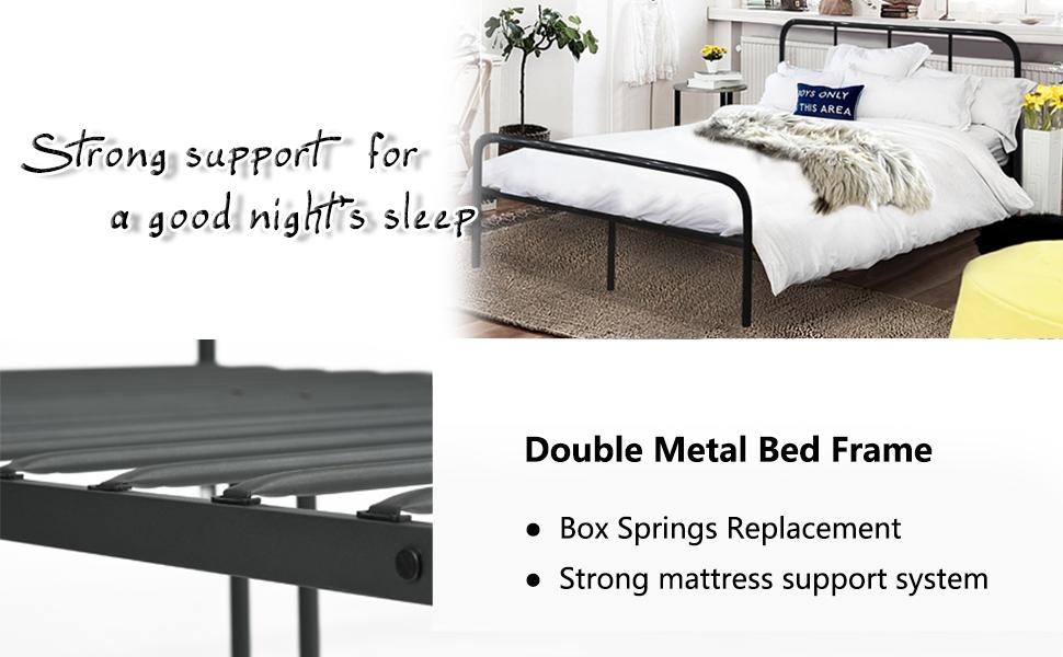 coavas Doppelbett Metallbett 4ft Doppelbett 6 Solid Bettstelle mit 2 ...
