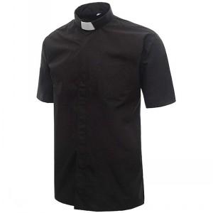 IvyRobes Herren Priesterhemd Kurze Ärmeln Klerus Hemd mit Tab Kragen ... 23d750a383