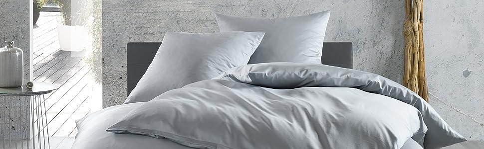 Mako Satin Baumwollsatin Bettwäsche Uni Einfarbig Zum Kombinieren Kissenbezug 80 Cm X 80 Cm Grau