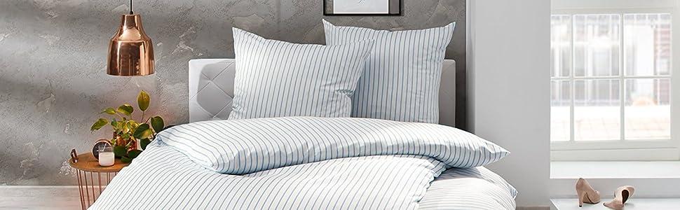 Mako Satin Bettwäsche Blau Weiß Gestreift 155x220 80x80 Cm 100